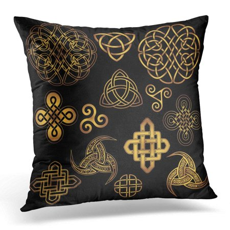 Celtic Knots And Symbols (CMFUN Golden Ancient Pagan Scandinavian Sacred Symbols and Ornaments Celtic Cross Knot The Druids Triskele Pillow Case Pillow Cover 20x20 inch )