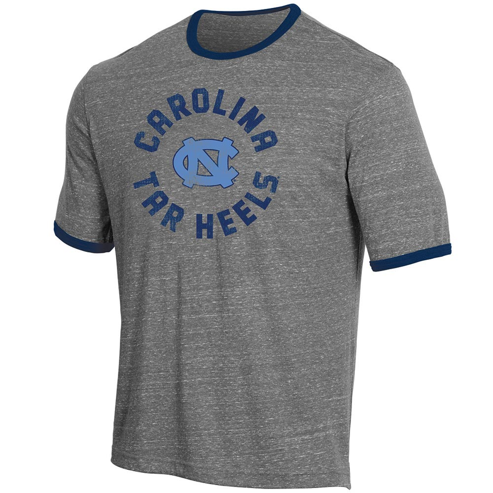 Men's Russell Heathered Gray North Carolina Tar Heels Athletic Fit Crew Neck Tri-Blend T-Shirt