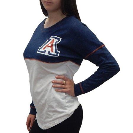 University Of Arizona Wildcats Officially Licensed Logo Junior Fit Drop Yoke Tee French Terry Long Sleeve T-Shirt (Small) (Arizona Wildcats Pool)