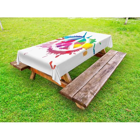 Tablecloth With Logo (Groovy Outdoor Tablecloth, Famous Widely Used Peace Logo with Colorful Splash Grunge Style Pacifism Themed, Decorative Washable Fabric Picnic Table Cloth, 58 X 84 Inches,Multicolor, by)