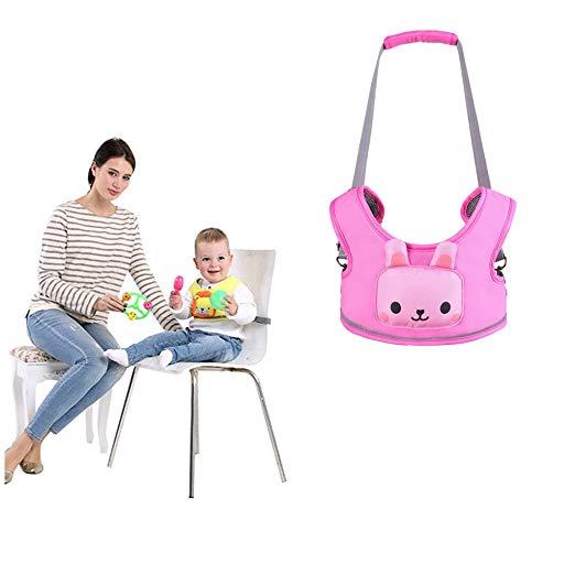 Toddler Safety Walking Reins Harness Belt Adjustable Strap Walk Assistant,Pink Rabbit