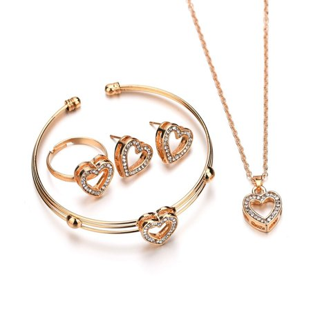 Women Bridal Elegant Jewelry Set Heart-shaped Necklace Earrings Bracelet Ring - Heart Shaped Bridal Set