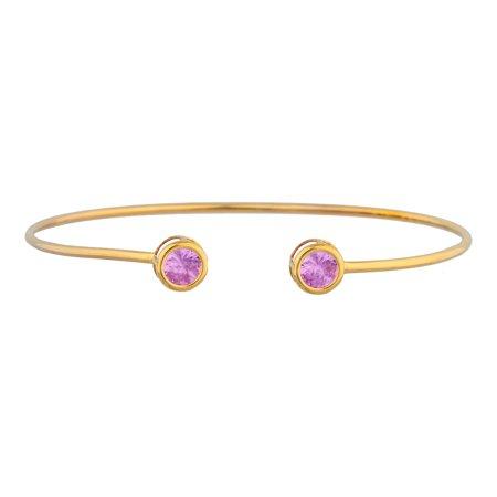 Bangle Pink Sapphire Bracelet (14Kt Yellow Gold Plated Pink Sapphire Round Bezel Bangle)