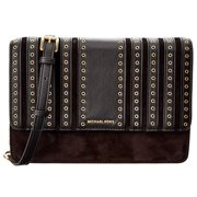Brooklyn Grommet Large Leather Crossbody Bag - Black - 32F6ABHC3S-001