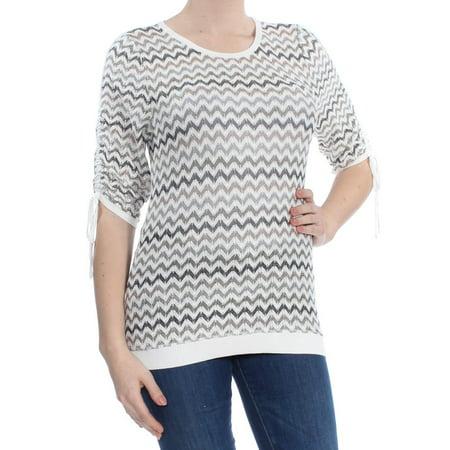 INC Womens Ivory Chevron Drawstring Sleeve Long Sleeve Jewel Neck Sweater  Size: M