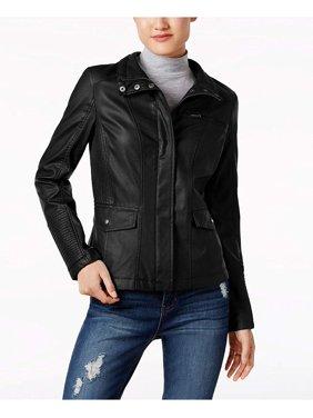 Celebrity Pink Juniors' Faux-Leather Jacket (Black, Large)