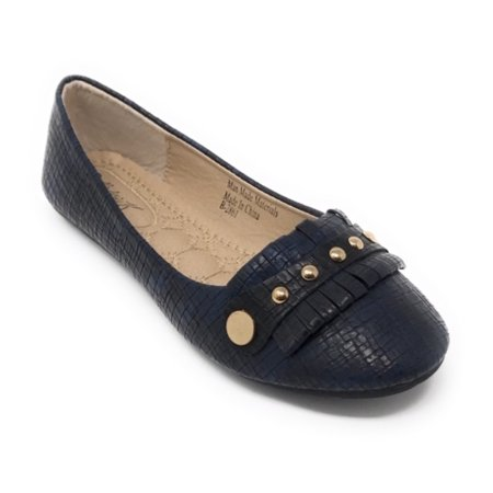 Victoria K Women's Squared Textured with Gold Studs Ballerina -