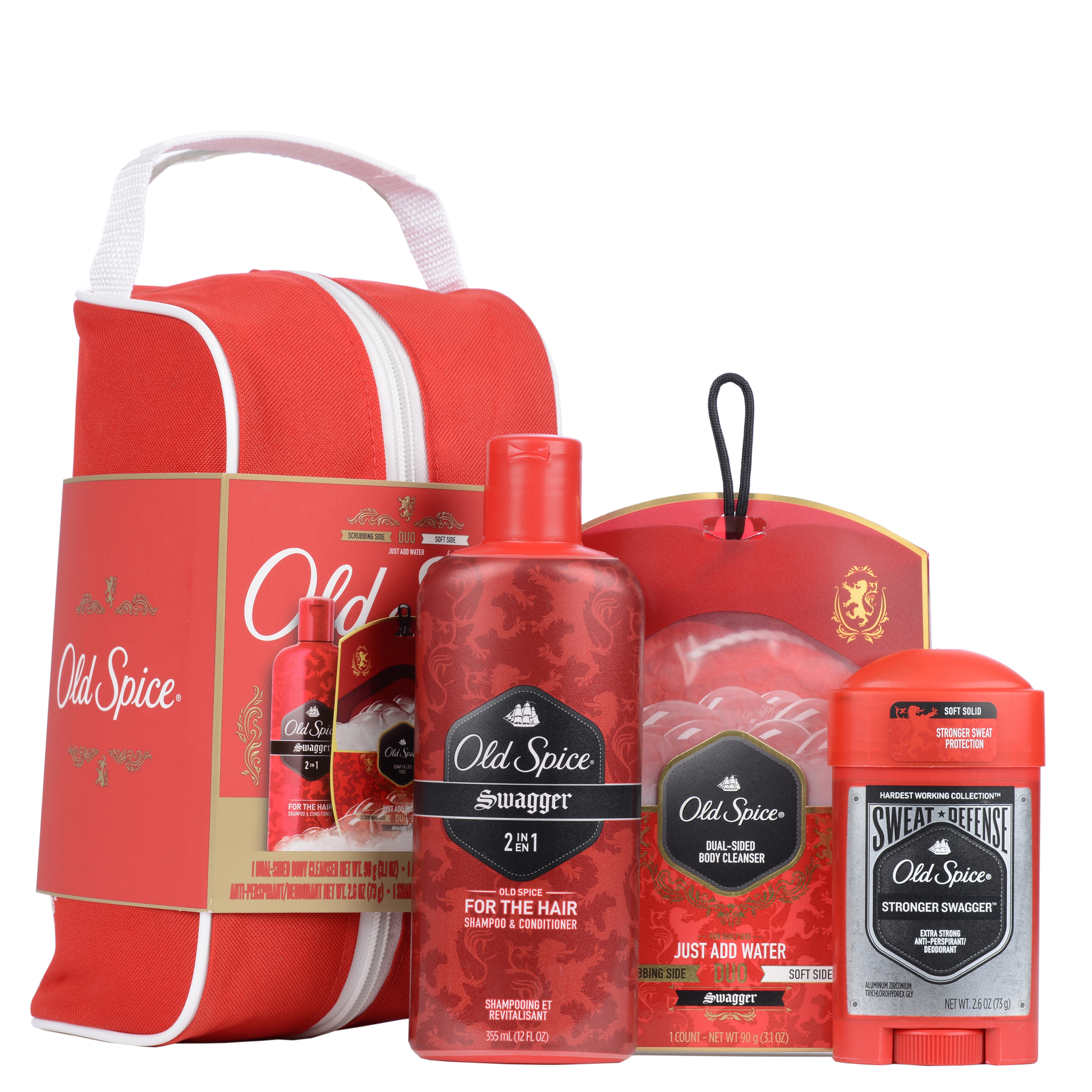 Old Spice Swagger Deodorant, Shampoo & Conditioner and Duo Cleanser Gift Pack - 4 Pc