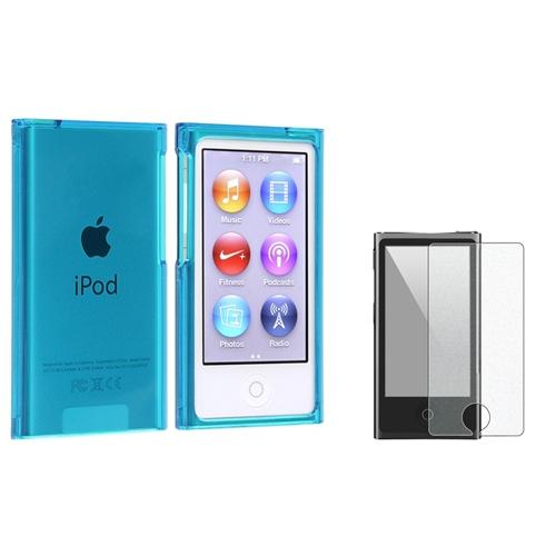 Insten Clear Blue Slim Snap-on Case + Colorful Diamond Screen Protector For Apple iPod nano 7 7th Generation