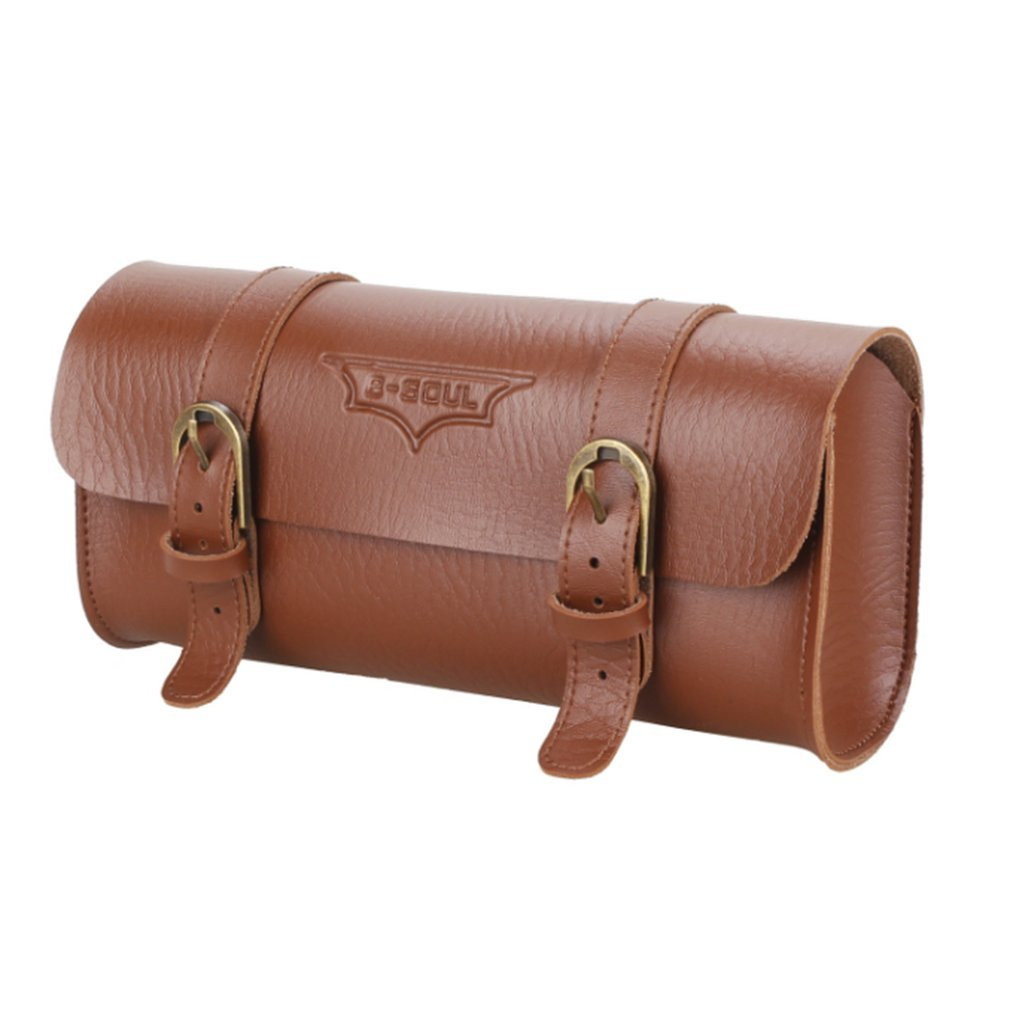 B-SOUL Vintage Bicycle Handlebar Bag Tail Bag PU Leather Pannier Saddle Pouch