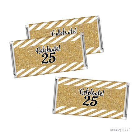 Milestone Hershey Bar Party Favor Labels Stickers, 25th Birthday or Anniversary, 10-Pack, Not Real Glitter (25th Anniversary Favors)