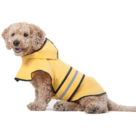 Ethical Pet Fashion Rainy Days Yellow Slicker for Dogs To determine the size of raincoat your dog needs, measure the distance between the dog's neck to the tail and then use this chart to determine his/her size: XS - 8 in.S - 10 - 12 in.M - 14 - 16 in.L - 18 - 20 in. XL - 20 - 24 in. XXL - 26 - 28 in. Ethical Pet Ethical Products is focused on providing quality, sustainable products for dog and cats. We market products under the SPOT brand which includes dog and cat toys, dishes, waste management products and other dog and cat accessories. Our Fashion Pet division markets a complete line of dog apparel. As a company, Ethical Products has won prestigious new product awards at the Global Pet Exposition show, with brands being cited as leaders in the annual survey conducted by Pet Age magazine.