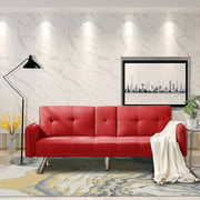 Mid Century Modern Sofa Bed, Sectional Sofa with Metal Legs, Two Cup Holders, Premium Upholstery Fabric Futon Sofa Bed, Love Seat Living Room Bedroom Furniture for Small Space Office, Red, Q11866