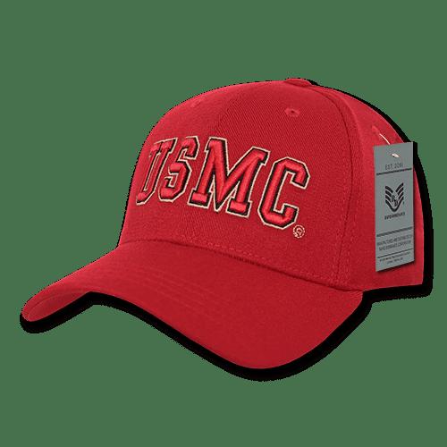 Rapid Dominance USMC US Marines (Red) Flex Fit Embroidered Baseball Dad Caps Hats