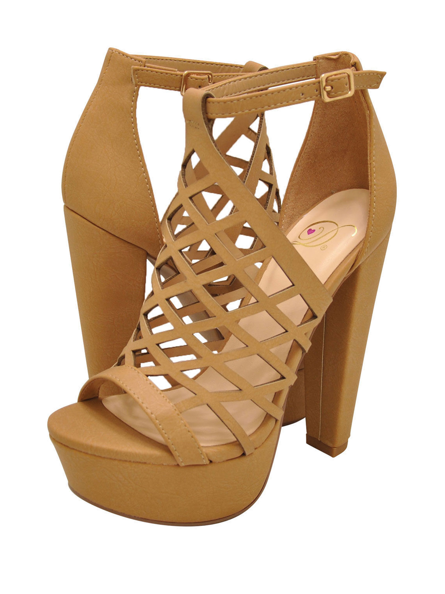 Delicious EXIT-S Women's Caged Platform Open Toe High Heel