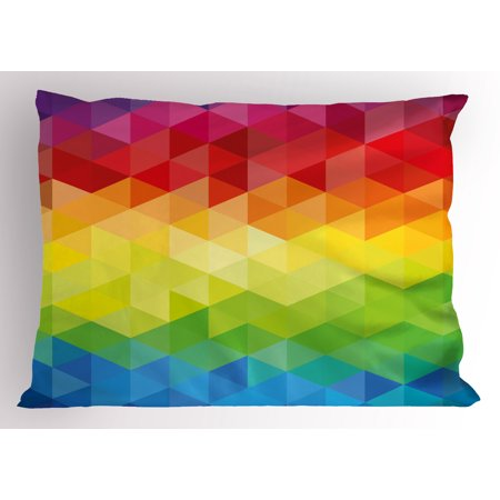 Geometrical Form (Colorful Pillow Sham Abstract Geometrical Polygonal Diamond Forms with Triangle Mirroring Lines Artwork, Decorative Standard Size Printed Pillowcase, 26 X 20 Inches, Multicolor, by Ambesonne )