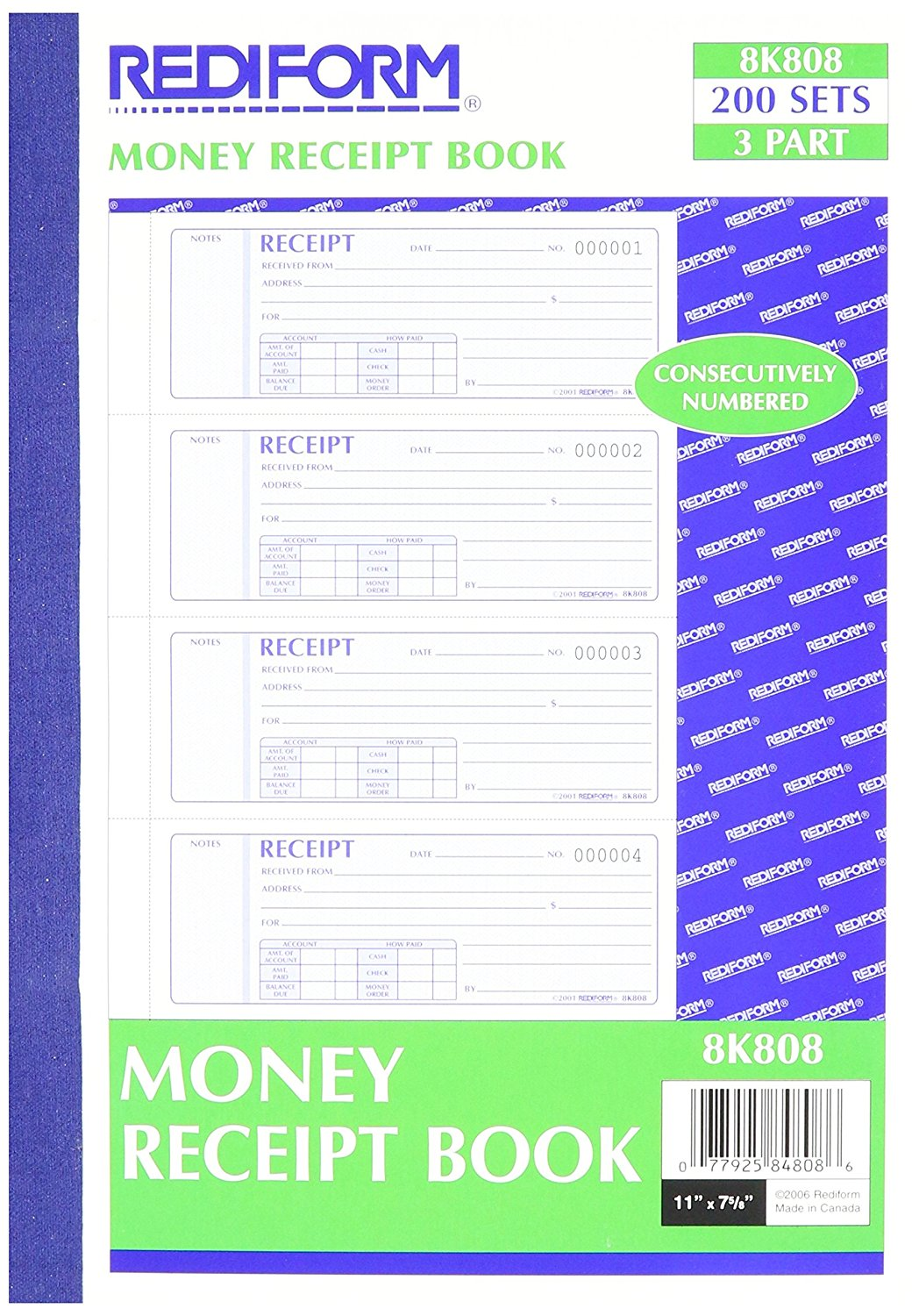 Money Receipt Books with Carbons, Triplicate, 4 Forms per Page, 200 Sets per Book (8K808), 200 triplicates,... by