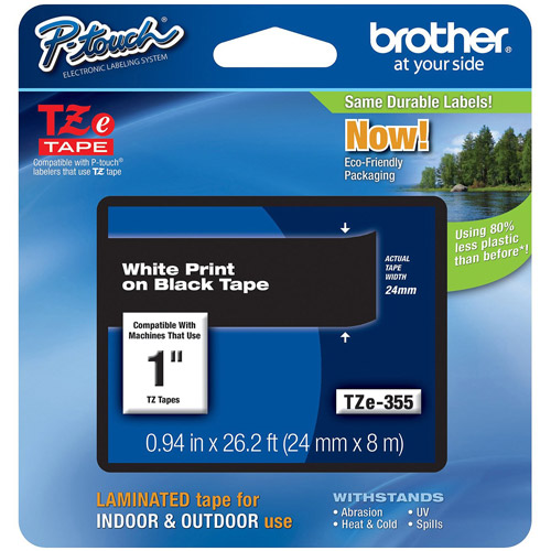Brother TZE355 24mm Laminated Tape, White on Black