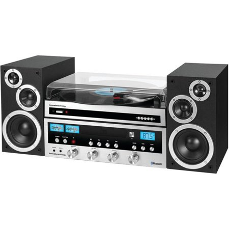 Innovative Technology Classic 50 Watt Cd Stereo System With Record Player And Bluetooth