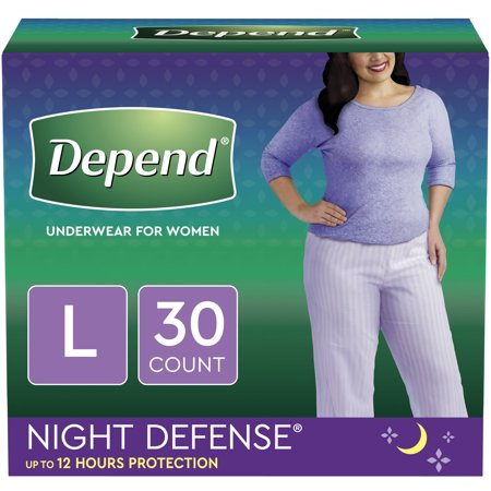 Depend Night Defense Incontinence Underwear for Women, Overnight, L, Blush, 30 Count (Depend Undergarments)