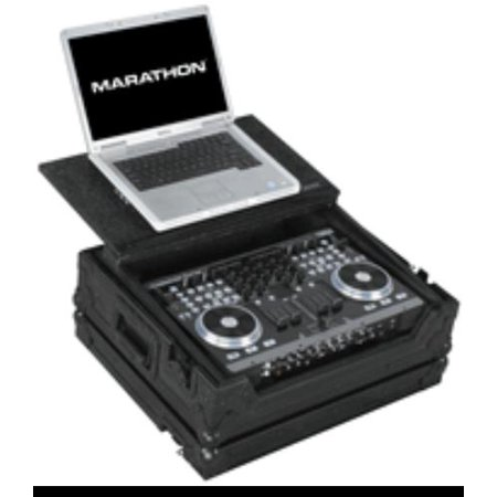 MA-VMS4LTBLK Flight Road Case Black Series To Hold 1 X American Audio Vms4 Music Controller Plus Laptop Shelf