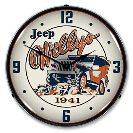 Jeep Willys On The Rocks 1941 Orange Blue Wall Clock 14