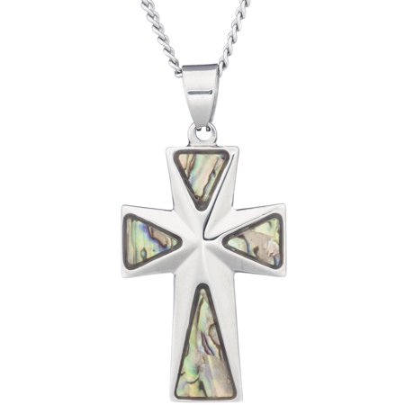 - SJewelry tainless Steel Cross Religious Pendant with Mother of Pearl Abalone Inlay, 24 Chain