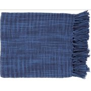 "49"" x 59"" Summertime Breeze Cobalt Blue and Navy Blue Fringed Throw Blanket"