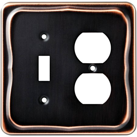 Brainerd Tenley Single Switch and Duplex Wall Plate, (Bronze Rustic Single Handle)