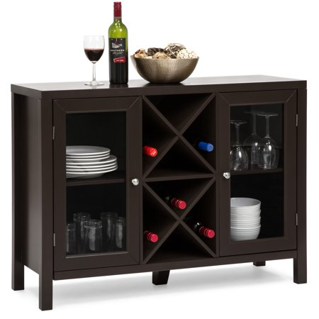 Best Choice Products Wooden Rustic Table Cabinet with Wine Rack Sideboard, Espresso Unfinished Wide Table