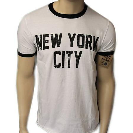 Retro Style New York City John Lennon T-shirt Ringer Distressed Print Mens, White, Small