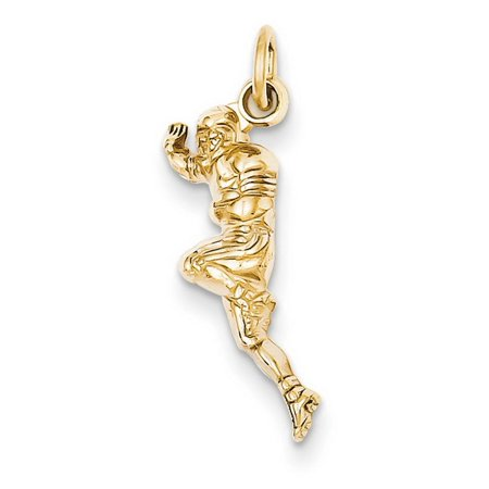 14k Yellow Gold Football Player Charm Pendant