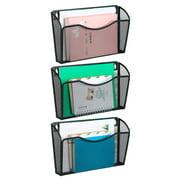 3 Pockets Wall Mounted File Holder Hanging Pocket Organizer for Office/Home, Black