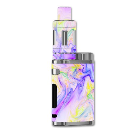 Skin Decal For Eleaf Istick Pico 75W Vape / Pastel Marble Resin Pink Purple Swirls Mix (Pink Linen Mix)