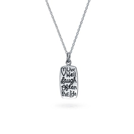 Small Engravable Inspirational Word Live Love Laugh Dog Tag Pendant Necklace For Teen Women 925 Sterling Silver - image 5 de 5