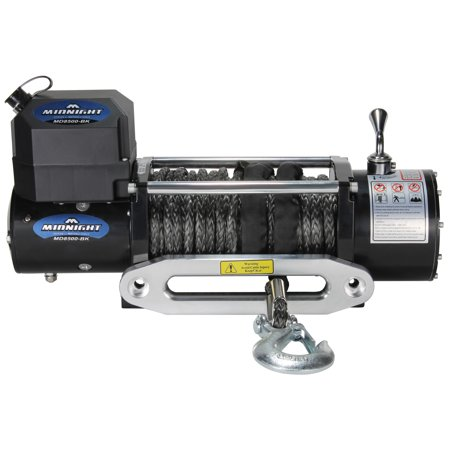 VIPER Recovery Winch, 12 VDC 8500lbs / 3856kg, steel hawse, handheld & wireless remote - BLACK synth ()