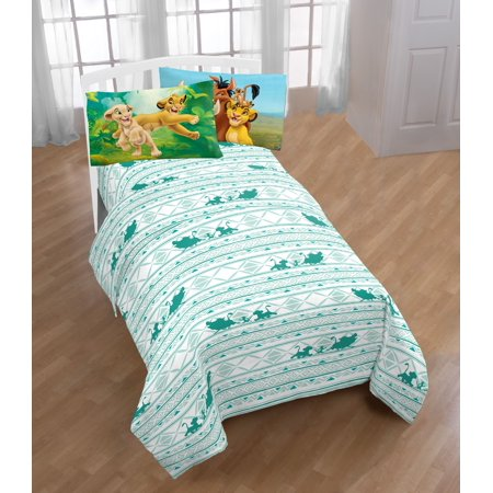 Disney Lion King Printed Green/White Kids Sheet Set w/ Reversible Pillowcase