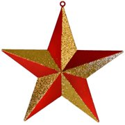 Christmas at Winterland WL-ORN-STAR-RE/GO 16 Inch Red and Gold Star Ornament