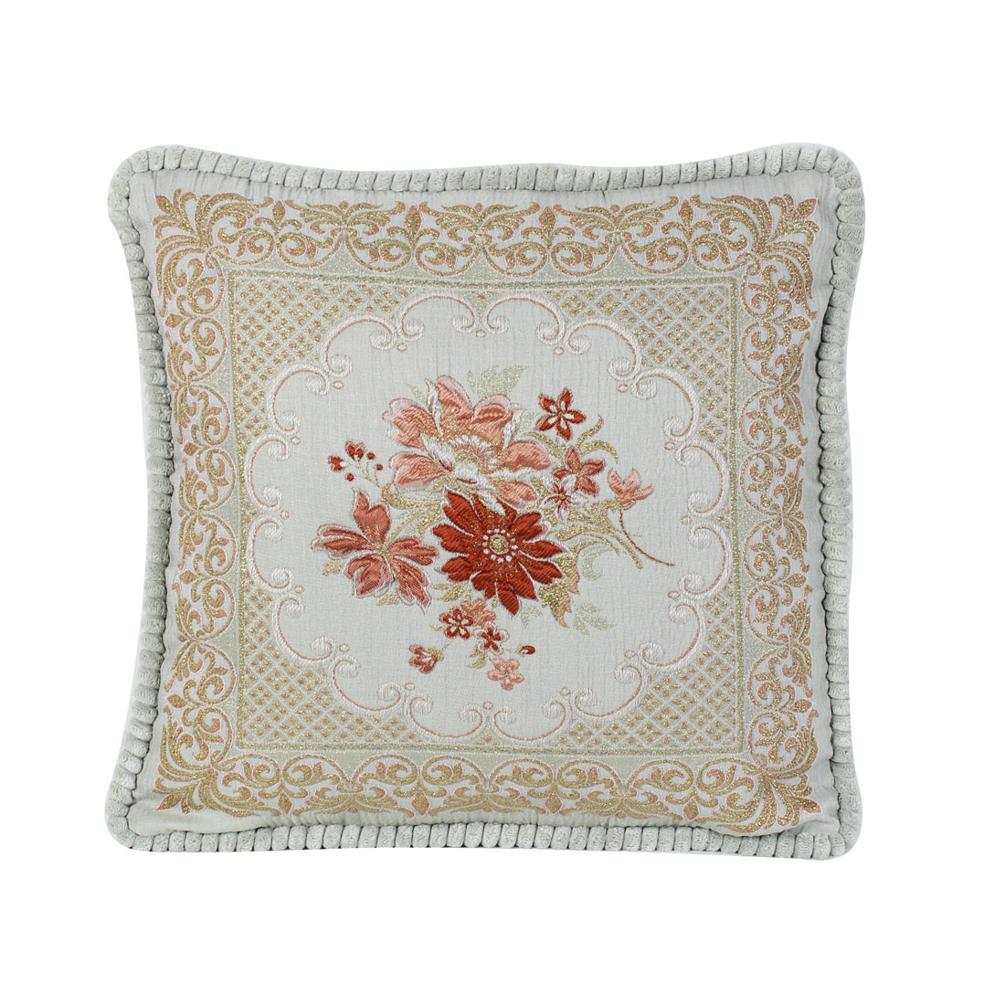 Chenille Embroidery Throw Cushion Pillow 50cm x 50cm Light Green