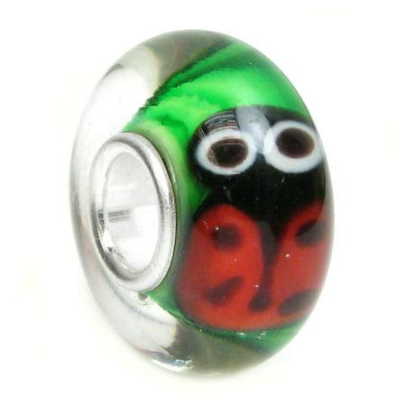 Red Ladybug Charm - Sterling Silver Red Black Ladybug European Style Glass Bead Charm Fits Pandora