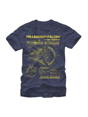 2e0f0b71 Product Image star wars men's millennium falcon schematics t-shirt