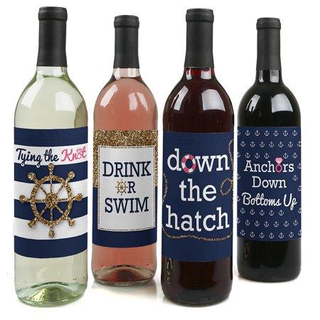 (Last Sail Before The Veil - Nautical Bridal Shower & Bachelorette Party Wine Bottle Labels - Set of 4)