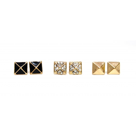 Lux Accessories Stone Black Pyramid Stud Earrings (3 Pairs)