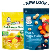 Gerber Graduates Fruit & Veggie Melts Freeze-Dried Fruit and Vegetable Snacks, Truly Tropical Blend, Naturally Flavored with Other Natural Flavors, 1 Ounce