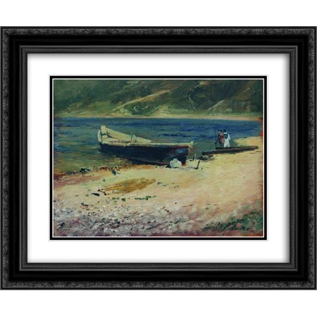 Isaac Levitan 2x Matted 24x20 Black Ornate Framed Art Print 'Boat on the coast' - Love Boat Isaac