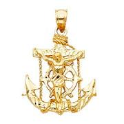Solid 14k Yellow Fine Gold Jesus Cross Mariner Charm Anchor Crucifix Pendant 6 Sizes (TGDJ-1220)