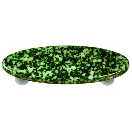 Granite Light Post - Hot Knobs HK8053-POA Granite Light Metallic Green & White Oval Glass Cabinet Pull - Aluminum Post