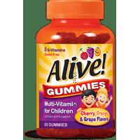 Alive! Cherry Orange & Grape Flavored Multi-Vitamin Gummies for Children 60 Ct