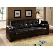 Bowery Hill Faux Leather Tufted Storage Sleeper Sofa in Dark Brown