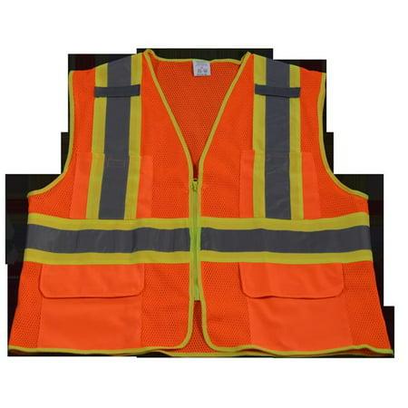 OVM2-CB1-4X-5X Safety Vest Ansi Class Ii Orange Mesh Contrast Binding, 4X & 5X - image 1 of 1